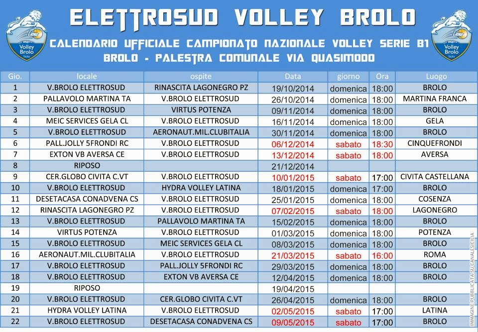 Calendario Volley Brolo