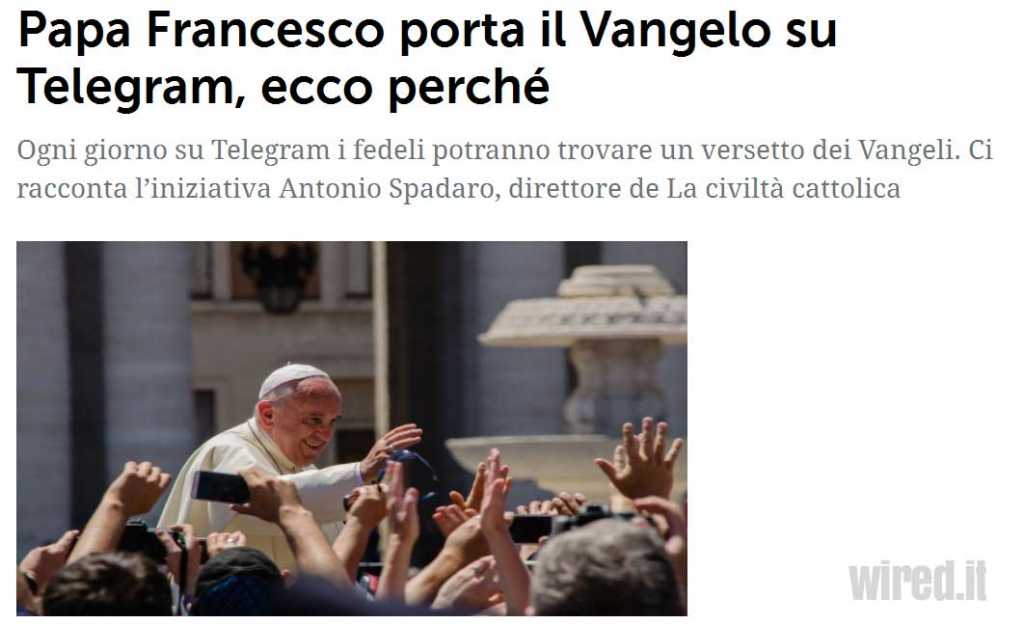 Papa Francesco su Telegram